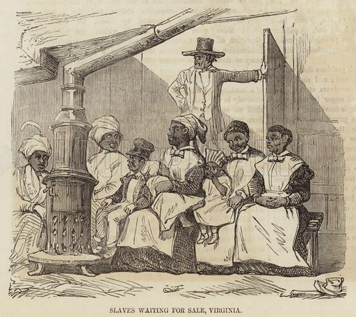 Slaves waiting for sale, Virginia.  From the Illustrated London News, 27 September 1856.