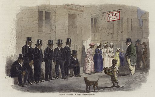 Slaves for sale, a scene in New Orleans.  From the Illustrated London News, 6 April 1861.  Modern hand colouring in Victorian style.