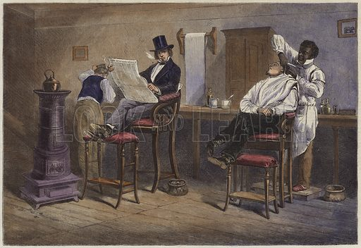 A Barber's Shop at Richmond Virginia.  From the Illustrated London News, 9 March 1861.  Modern hand colouring in Victorian style.