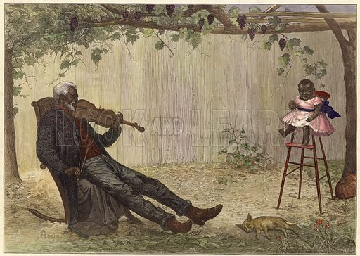 Old negro playing violin to baby.  From the Illustrated London News, 13 February 1875.  Modern hand colouring in Victorian style.