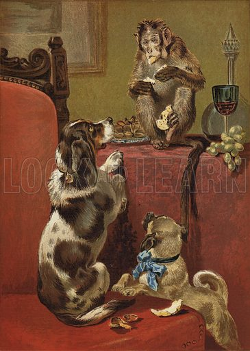 The Greedy Monkey, a painting by John Charles Dollman, depicting two dogs watching from a chair as a monkey eats food from a table beyond.