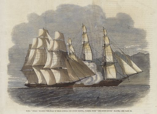 HMS Brisk, bearing the flag of Rear-Admiral Sir Henry Keppel, closing with The Sunny South Slaver.  Published in the Illustrated London News, 8 December 1860.  Modern hand colouring in Victorian style.
