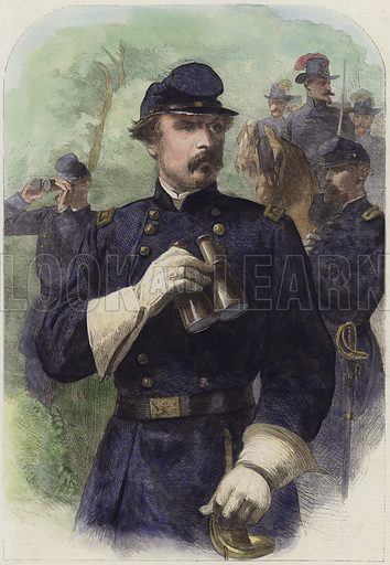 General George B. McClellan, commander-in-chief of the Federal ForcesPublished in the Illustrated London News, 14 December 1864. Hand-coloured engraving in the Victorian style.