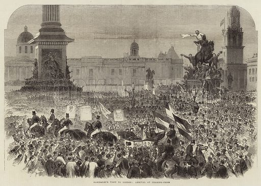 Garibaldi's visit to London: arrival at Charing Cross, London, England, Great Britain. Published in the Illustrated London News, 23 April 1864.