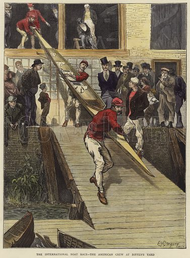 Cover of The Graphic, published on 1 June 1872, with an illustration depicting the International Boat Race - the American crew at Biffin's Yard. Hand coloured in the Vicorian style.