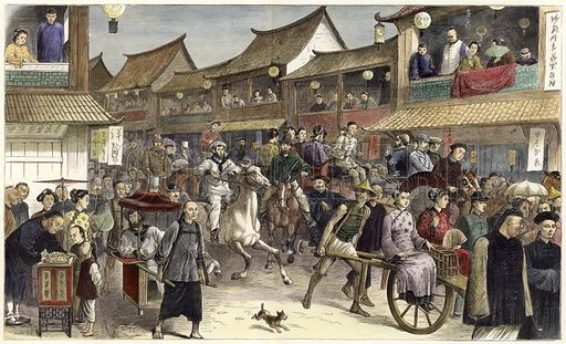 Going to the Shanghai 'derby'. Published in The Graphic, 31 May 1879. Hand coloured in the Victorian style.