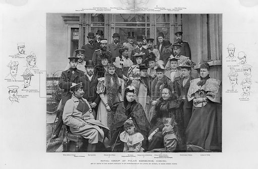 Royal group at Palais Edinburgh, Coburg. Published in a supplement to the Illustrated London News, 23 June 1894.