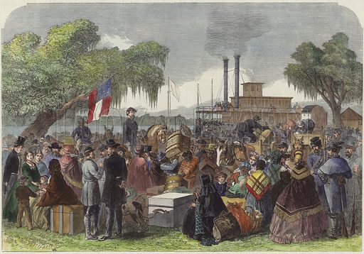 The War in America: arrival of a federal steamer with flag of truce at Madisonville, Lake Portchartrain. Published in the Illustrated London News, 11 April 1863. Hand coloured in the Victorian style.