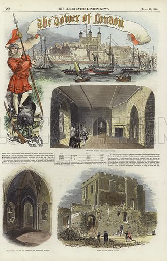 Page from the Illustrated London News, 22 April 1848, depicting views of the Tower of London. Hand coloured in the Victorian style.