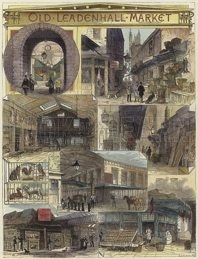 Old Leadenhall Market: 1. Entrance from Gracechurch Street; 2. Half Moon Passage; 3. The Shambles; 4. Half Moon Corner; 5. The Old Leather Market; 6. Live Stock Alley; 7. Old Poulterer's Shop. Published in the Illustrated London News, 18 September 1880. Hand coloured in the Victorian style.