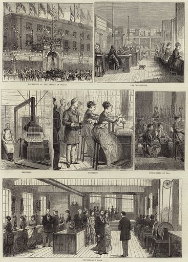 Manufacture of steel pens, sketched at the works of Mr Jospeh Gillott, visited by HRH The Prince of Wales. Published in The Graphic, 7 November 1874.