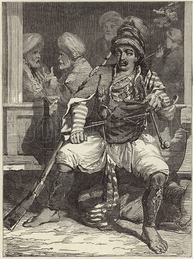 A Bashi-Bozouk. Published in a supplement to the Illustrated London News, 3 June 1854.