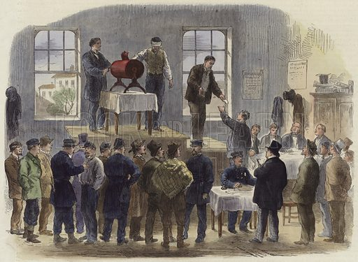 The War in America: the conscription in New York. Published in the Illustrated London News, 8 April 1865. Hand coloured in the Victorian style.