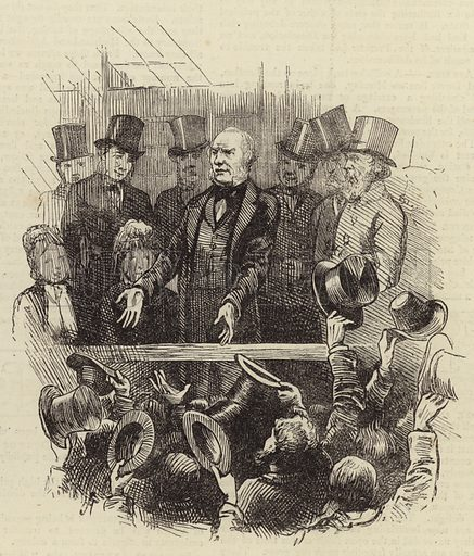 The General Election – incident during Mr Gladstone's speech at Blackheath. Published in The Graphic, 7 February 1874.