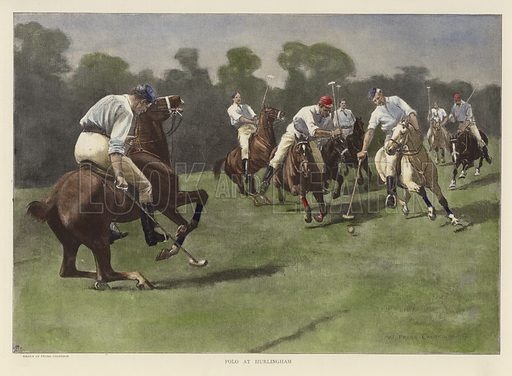 Polo at Hurlingham. Original drawing by W Frank Calderon, 1891, and engraving initialled A R. From Black and White, 4 July 1891. Hand coloured in the Victorian style.