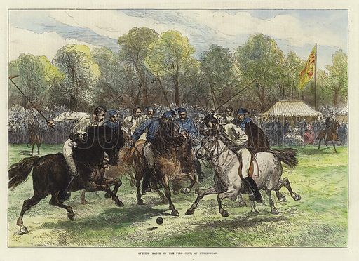 Opening Match of the Polo Club at Hurlingham. Illustration initialled C R. From the Illustrated London News, 20 June 1874. Hand coloured in the Victorian style.