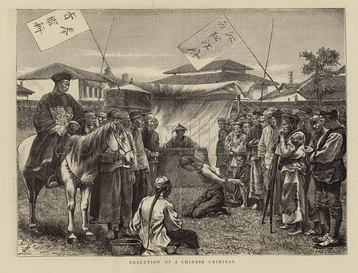 Execution of a Chinese criminal. Engraving by H Harral and initialled HJ From The Graphic, 12 November 1870.