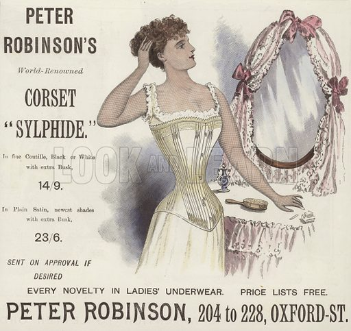 Peter Robinson's World-Renowned Corset 'Sylphide'. From Lady's Pictorial, 17 November 1894. Hand coloured in the Victorian style.
