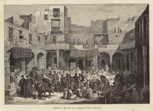 Egypt - Slave Market. Engraving by H Claudius after original artwork by H Kretzschmer. From El Mundo Ilustrado, published in Barcelona, circa late nineteenth century.