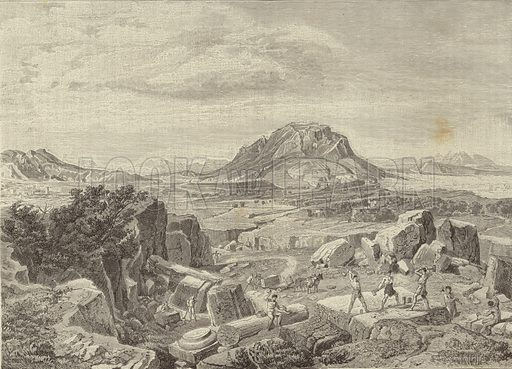 Greece and Rome - Greece: Corinth, seen from a quarry. Originally drawn by H Kaeseberg, engraved by J Krell. Engraving by Josef Hoffmann. From 'El Mundo Ilustrado', published in Barcelona, circa late nineteenth century.