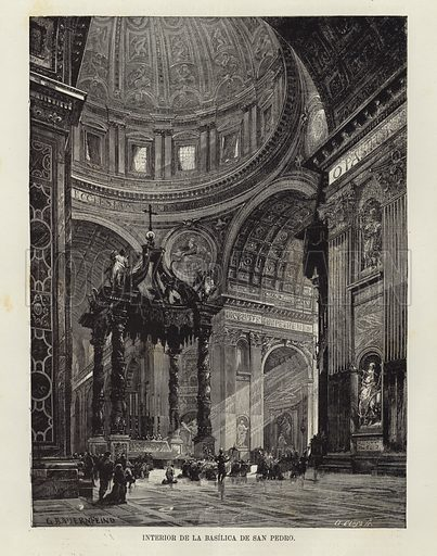 Interior of St Peter's Basilica. Original drawing by Gustav Bauernfeind, engraved by A Closs. From 'El Mundo Ilustrado', published in Barcelona, circa late nineteenth century.