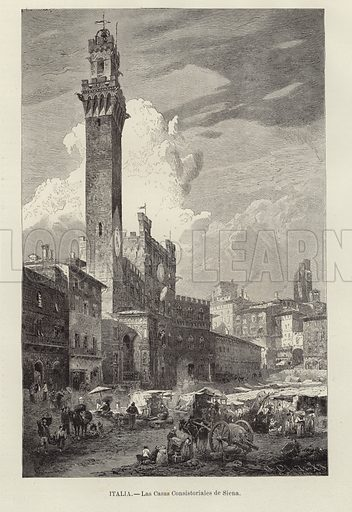 The town hall of Siena. Engraving by G Schurath for A Closs after an original artwork by Gustav Bauernfeind. From 'El Mundo Ilustrado', published in Barcelona, circa late nineteenth century.