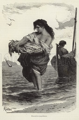 Neapolitan fisher. Iluustration by Keller from 'El Mundo Ilustrado', published in Barcelona, circa late nineteenth century.