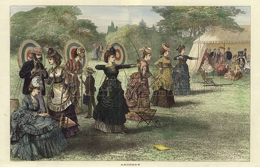 Archery. From the Illustrated London News, 24 August 1872. Hand coloured in the Victorian style.