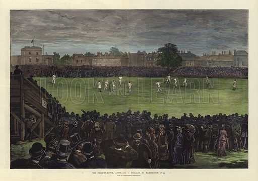 The Cricket Match, Australia v England, at Kennington Oval. Illustration from an instantaneous photograph. From the Illustrated London News, 2 September 1882. Hand coloured in the Victorian style.