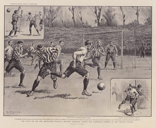 The final tie for the association football between Sheffield United and Tottenham Hotspur at the Crystal Palace. Illustration by ST Dadd. From The Graphic, 27 April 1901.