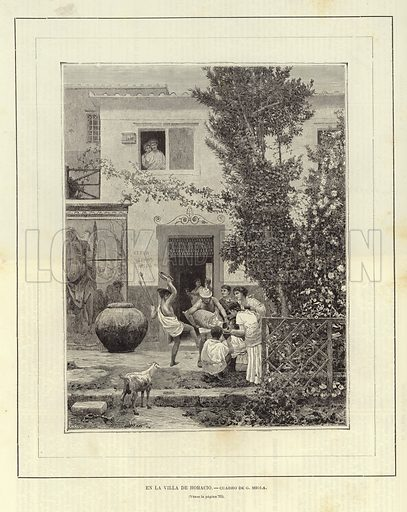 At the Villa of Horace.  Engraving by Canedi after original painting by G Miola. From El Mundo Ilustrado, published in Barcelona, circa late nineteenth century.