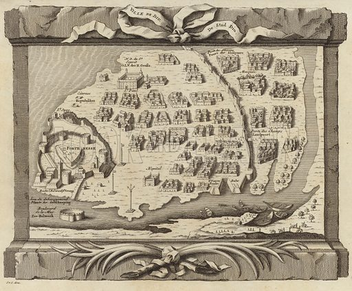 Map of the Island of Diu, by Jacques Nichloas Bellin. The island is situated off the south coast of the Kathiawar peninsula in Gujarat, India. Image taken from 'Histoire Generale des Voyages', by Antoine Francois Prevost. Published by Pierre de Hondt, 1747.
