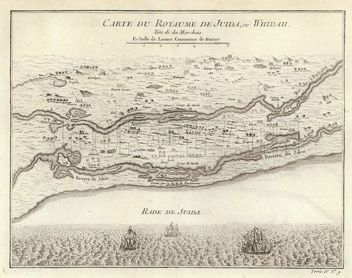 Carte du Royaume de Juida ou Whidah, by Jacques Nichloas Bellin, showing the coastal creeks and lagoons in the area which is today the Republic of Benin. Image taken from 'Histoire Generale des Voyages', by Antoine Francois Prevost. Published by Pierre de Hondt, 1747.