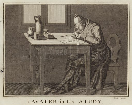 Johann Kaspar Lavater, Swiss poet and physiognomist, writing at his desk in his study. Engraved by John Barlow. Published in Essays on physiognomy, by Johann Kaspar Lavater.