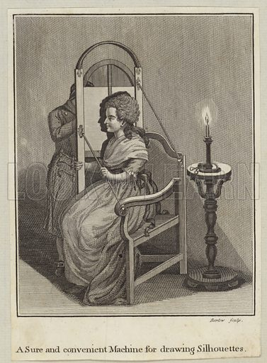 A sure and convenient machine for drawing silhouettes, a woman sitting in a chair, lit by a candle as a figure stands behind a screen tracing a silhouette of the woman. Engraved by John Barlow. Published in Essays on physiognomy, by Johann Kaspar Lavater.
