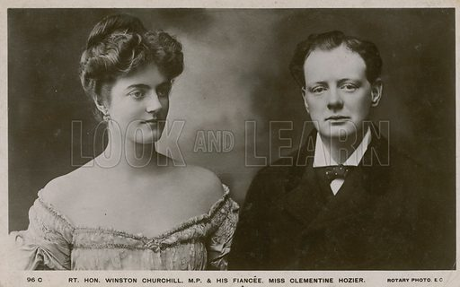Winston Churchill MP and his fiancee Clementine Hozier.