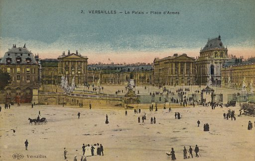 Palace of Versailles, Place d'Armes.  Postcard, early 20th century.