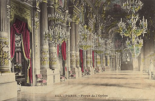 Paris, Foyer de l'Opera.  Postcard, early 20th century.