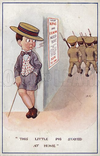 Smartly dressed conscientious objector being left behind by soldiers. WW1 cartoon propaganda postcard. This little pig stayed at home.