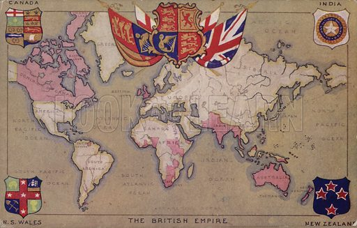 Map showing the British Empire with flags and coats of arms.