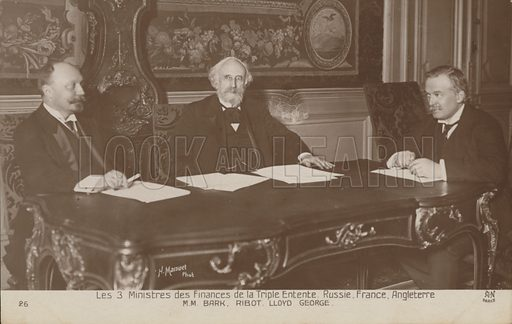 A meeting of the three finance ministers of the Triple Entente. Russia, France, England.