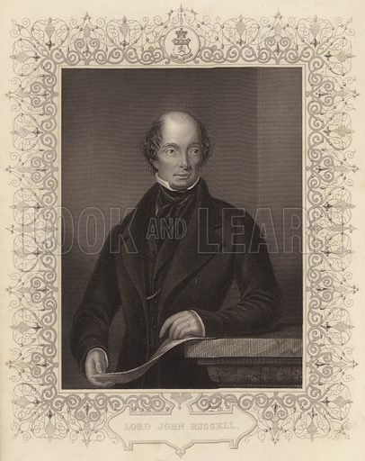 John Russell, 1st Earl Russell, known as Lord John Russell before 1861, English Whig and Liberal politician. Drawn and engraved by D. J. Pound.