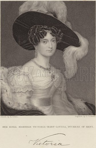 Her Royal Highness Mary Louise Victoria, Duchess of Kent. Painted by H Collen. Engraved by J Cochran. With a facsmilie of the Duchess's signature.