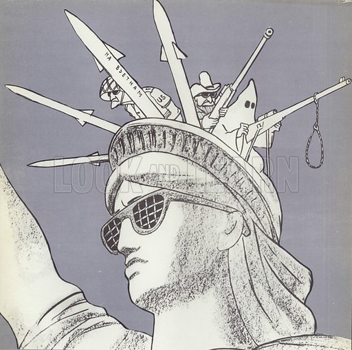 Liberty – American Style, Soviet propaganda image, 1970s. One of the missiles is inscribed with the message To Vietnam.
