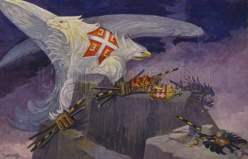 Two-headed Serbian eagle destroying the standards of the Austro-Hungarian Empire, Germany, the Ottoman empire and Bulgaria, World War I, 1914–1918.