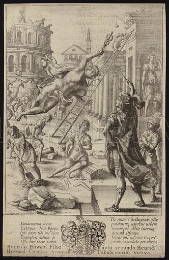 Aeneas and Mercury. Print made by Wencelaus Hollar. Scenes from Virgil.
