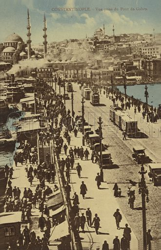 View from the Galata Bridge, Constantinople, Turkey.