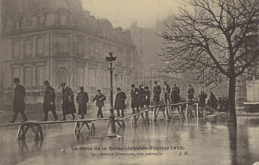 Great flood of the River Seine, Paris, January-February 1910