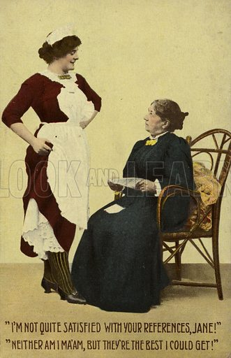 Woman considering employing a maid.