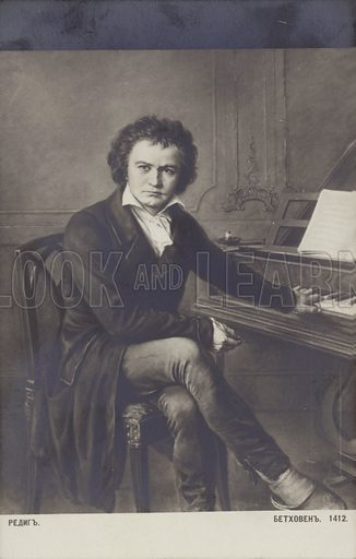 Ludwig van Beethoven, German composer and pianist (1770-1827). Russian postcard reproduction of an original portrait.